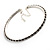 Thin Swarovski Crystal Choker Necklace (Clear & Black) - view 5
