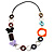 Multicoloured Butterfly Link Leather Style Necklace (Silver Tone) - 80cm - view 7