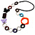 Multicoloured Butterfly Link Leather Style Necklace (Silver Tone) - 80cm - view 2