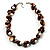 Exquisite Faux Pearl & Shell Composite Silver Tone Link Necklace (Chocolate & White)
