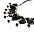 Black Shell Composite Charm Leather Style Necklace (Silver Tone) - view 3