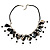 Black Shell Composite Charm Leather Style Necklace (Silver Tone) - view 4