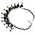 Black Shell Composite Charm Leather Style Necklace (Silver Tone) - view 5
