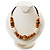 Wooden Bead Leather Style Cord Necklace (Light Brown & Golden)