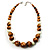Wood & Ceramic Graduated Bead Choker Necklace (Light Brown, Cream & Black)