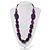 Purple Wood Bead Black Faux Leather Necklace - 76cm L