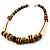 Long Chunky Wooden Geometric Necklace (Brown & Beige) - 58cm Length - view 9