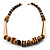 Long Chunky Wooden Geometric Necklace (Brown & Beige) - 58cm Length - view 10