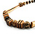 Long Chunky Wooden Geometric Necklace (Brown & Beige) - 58cm Length - view 8