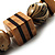 Long Chunky Wooden Geometric Necklace (Brown & Beige) - 58cm Length - view 5