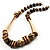 Long Chunky Wooden Geometric Necklace (Brown & Beige) - 58cm Length - view 2