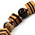 Long Chunky Wooden Geometric Necklace (Brown & Beige) - 58cm Length - view 6