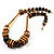 Long Chunky Wooden Geometric Necklace (Brown & Beige) - 58cm Length - view 3