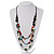 3 Strand Multicoloured Bead Leather Cord Necklace - 68cm L