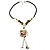 Antique White Shell Composite Floral Tassel Leather Cord Necklace - view 2