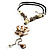 Antique White Shell Composite Floral Tassel Leather Cord Necklace - view 3