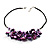 Purple Shell-Composite Leather Cord Necklace - view 5