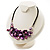 Purple Shell-Composite Leather Cord Necklace - view 9