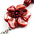 Coral Red Shell Composite Floral Tassel Leather Cord Necklace - view 3