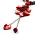 Coral Red Shell Composite Floral Tassel Leather Cord Necklace - view 4