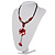 Coral Red Shell Composite Floral Tassel Leather Cord Necklace - view 10