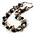 Exquisite Faux Pearl & Shell Composite Silver Tone Link Necklace (Antique White & Black) - view 5