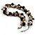 Exquisite Faux Pearl & Shell Composite Silver Tone Link Necklace (Antique White & Black) - view 6