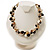 Exquisite Faux Pearl & Shell Composite Silver Tone Link Necklace (Antique White & Black) - view 2