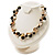 Exquisite Faux Pearl & Shell Composite Silver Tone Link Necklace (Antique White & Black) - view 7