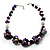 Purple Shell, Wood & Simulated Pearl Bead Cluster Necklace - view 3