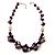 Purple Shell, Wood & Simulated Pearl Bead Cluster Necklace - view 9