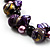 Purple Shell, Wood & Simulated Pearl Bead Cluster Necklace - view 4