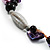 Purple Shell, Wood & Simulated Pearl Bead Cluster Necklace - view 5