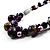 Purple Shell, Wood & Simulated Pearl Bead Cluster Necklace - view 7