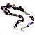 Purple Shell, Wood & Simulated Pearl Bead Cluster Necklace - view 6