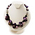 Purple Shell, Wood & Simulated Pearl Bead Cluster Necklace - view 2