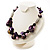 Purple Shell, Wood & Simulated Pearl Bead Cluster Necklace - view 10