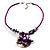 Purple & Magenta Glass, Shell & Mother Of Pearl Floral Choker Necklace (Silver Tone) - view 6