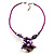 Purple & Magenta Glass, Shell & Mother Of Pearl Floral Choker Necklace (Silver Tone) - view 7