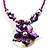 Purple & Magenta Glass, Shell & Mother Of Pearl Floral Choker Necklace (Silver Tone) - view 1