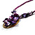 Purple & Magenta Glass, Shell & Mother Of Pearl Floral Choker Necklace (Silver Tone) - view 4