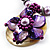 Purple & Magenta Glass, Shell & Mother Of Pearl Floral Choker Necklace (Silver Tone) - view 5