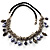 Silver Tone Link Charm Leather Style Necklace (Black & Lilac) - view 2