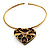 Flowering Heart Brass Choker Necklace - view 9