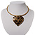 Flowering Heart Brass Choker Necklace - view 3