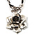 Burn Silver Rose Leather Necklace - view 1