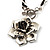 Burn Silver Rose Leather Necklace - view 7