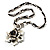 Burn Silver Rose Leather Necklace - view 5