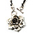 Burn Silver Rose Leather Necklace - view 3