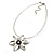 Rhodium Plated Daisy Pendant Wire Necklace - view 5